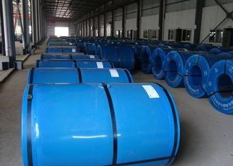 China Colorful Prepainted Steel Coil 600 ~ 1250mm Width For Construction / Buildings supplier