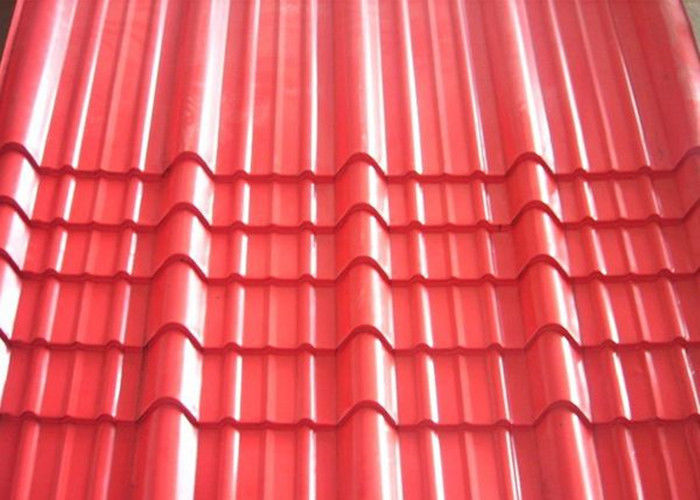 Galvanised Corrugated Roofing Sheets , Red Pre Painted Corrugated